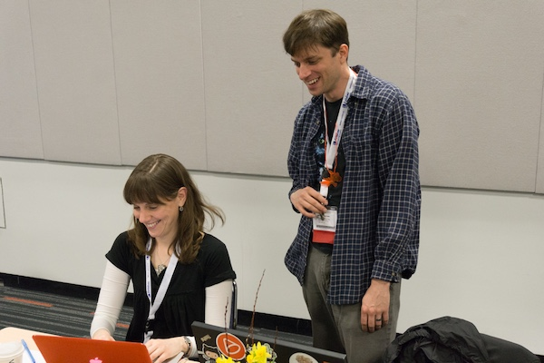Caleb teaching at the Django Girls workshop at PyCon2015